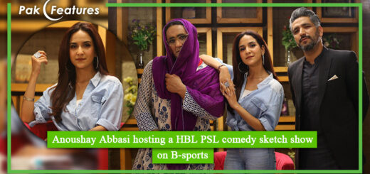 Anoushay Abbasi hosting a HBL PSL comedy sketch show on B sports
